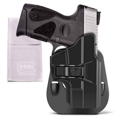 HQDA Taurus PT111 G2 G2C Holster Tactical Outside Waistband OWB Paddle Holder fit Taurus Millennium G2C G2 PT111 PT132 PT138 PT140 PT145 PT745(Not Pro) Holster Trigger Release 60° Adj. Cant Right-hand