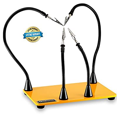 QuadHands WorkBench Helping Hands Third Hand Soldering Tool - Magnetic Base Arms Can Be Positioned Anywhere You Choose