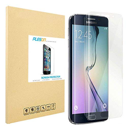 PLESON Galaxy S6 Edge Screen Protector [Full Coverage], Upgrade [2-Pack] Samsung Galaxy S6 Edge Screen Protector Edge to Edge,Ultra Clear,Anti-Bubbles Crystal Invisible PET Shield