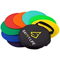 Savvy Life Poly Spot Markers - Set of 16 Multi-Colored Vinyl Spot Indicators for PE, School Activities, Exercise Drills…