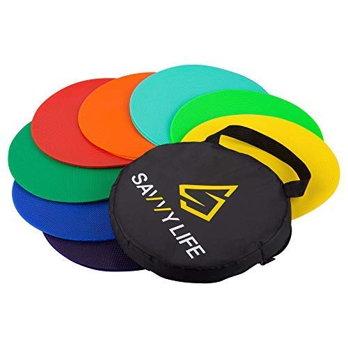 Savvy Life Poly Spot Markers - Set of 16 Multi-Colored Vinyl Spot Indicators for PE, School Activities, Exercise Drills, Sports Training - 10