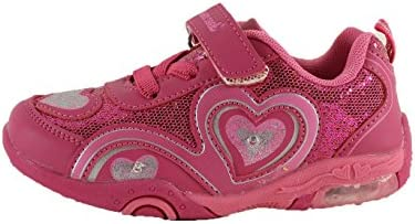 Dream Seek Girls Toddler//Little Kid//Big Kid 1346 Athletic Casual Velcro Strap Light up Fashion Sneaker