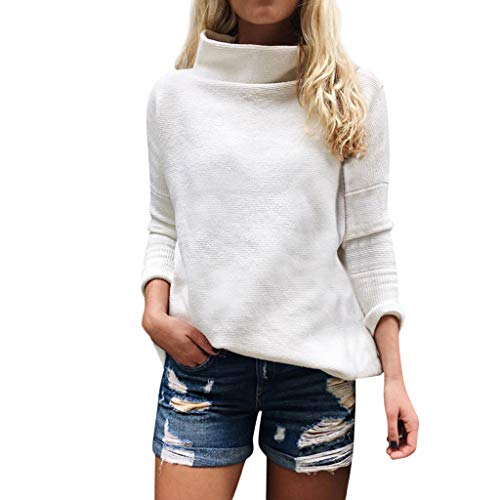 COPPEN Women Blouse Long Sleeve Turtleneck Knitting Sweater Sweatshirt (Textured Bubbles)