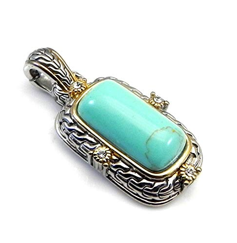 Real Imposters Necklace Pendants Bali Inspired 2-Tone Rectangle Simulated Turquoise & Crystals Slider-Enhancer