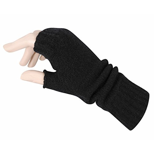 Women's Fingerless Mitts Pure Cashmere Made in Scotland (Black) (Lady In The Navy Gloves)
