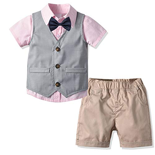 - Boys Formal Suit Wear Vest Stripe Shirt Shorts Toddler/Teen 4 Piece Suits Slim Fit (Gray+Pink 3-4Years)