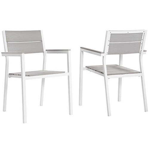 Modway Maine Patio Dining Armchair in White and Light Gray (Set of 2)