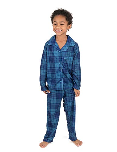 Leveret Kids Pajamas Flannel Pajamas Boys & Girls 2 Piece Christmas Pajama Set Blue/Navy Plaid 8 Years