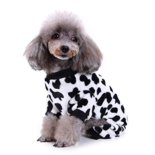 - LowProfile Pet Jumpsuit, Dog Puppy Mike Cow Print 4 Legs Plush Pajamas Doggy Appeal