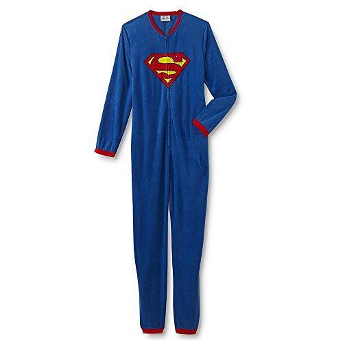 DC Comics Batman and Superman Young Men's One-Piece Pajamas (X-Large, -