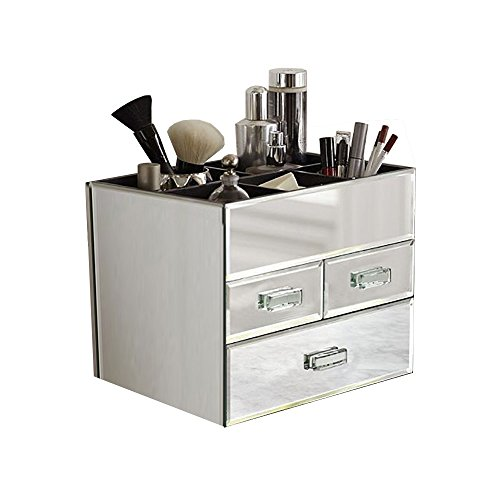 OnDisplay Miro 3 Drawer Tiered Mirrored Glass Makeup/Jewelry Organizer - Silver