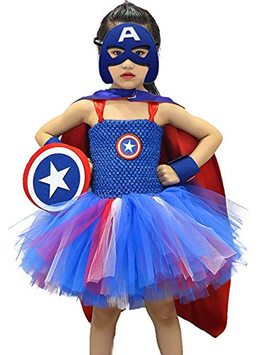 AQTOPS Girls Superhero Costumes Halloween Role Play Outfit Size 4 ()