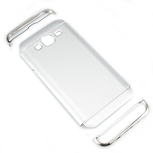 Samsung Galaxy J3 2015 Funda, Vandot Hybrid Diseño 3 en 1 Cáscara Dura de la PC Recubrimiento Metálico Marco Chapado Matte de Lujo Hard Caja de Telefono Duro Protección Cubierta Case Cover para Samsun Hybrid Plata