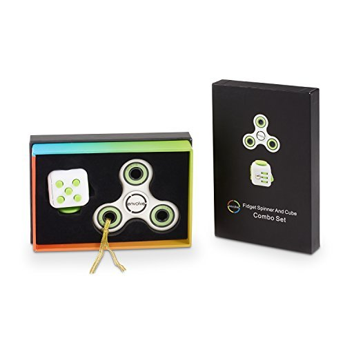 Envolve White Green Fidget Cube FREE Fidget Spinner Combo (Green) Original by Includes two Silent Buttons - For focus, calm anxiety, and break nervous habits. Long spin times - (Gift Packaging)