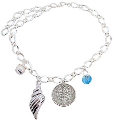 Shell Button Bracelet - Better Than Buttons Large Bridal Ankle Bracelet Shell, Light Blue Round Crystal, Simulated White Pearl and Six Pence