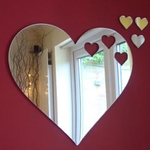 Small Hearts Out of Heart Mirror 12cm X 10cm (5inch x 4inch) with 3 Baby - Mirror Cut Out
