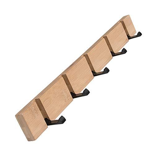 (100% Natural Bamboo Coat Rack, Wall-Mounted Heavy Duty Foldable Coat Hooks, Towel Bag Key Holder Hanger Hook Rack for Entryway Bedroom Bathroom (Wood, 5 Hooks))