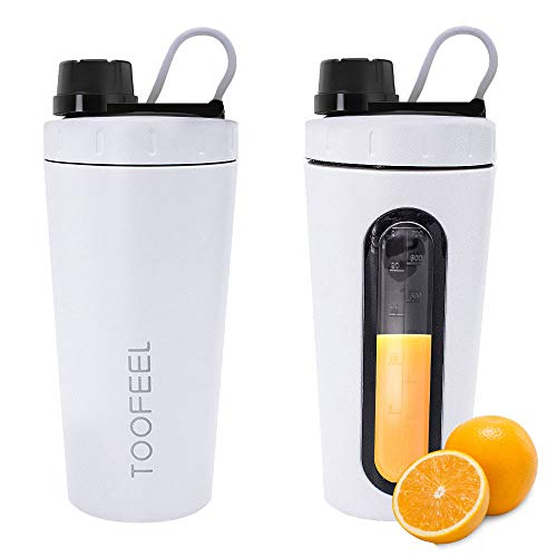 Floating Stainless Steel Bottle - TOOFEEL 28oz 800ml Stainless Steel Protein Shaker Bottle Dishwasher Safe Sports Mixer Water Bottle Shaker Cup with Visible Window Leak Proof BPA Free