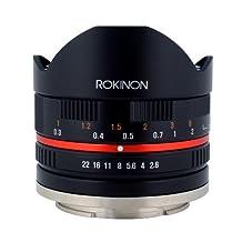 Rokinon RK8MBK28-FX 8mm F2.8 UMC Fisheye II Lens for Fuji X Mount Digital Cameras, Black