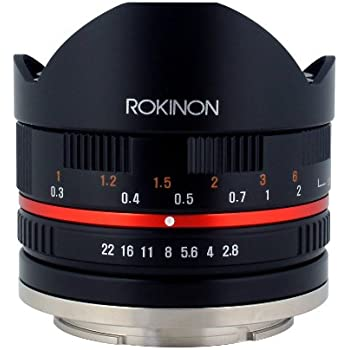 Rokinon 8mm F2.8 UMC Fisheye II (Black) Fixed Lens for Sony E-Mount (NEX) Cameras (RK8MBK28-E)