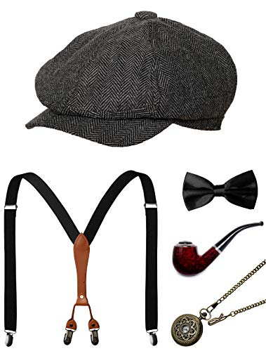 1920s Mens Accessories Gatsby Gangster Costume Accessories Set Manhattan Fedora Hat Suspenders Bow Tie Pocket Watch (Grey2 -