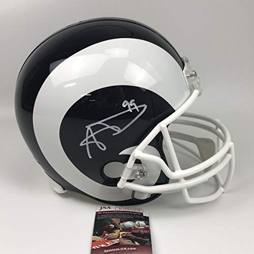c3f4921325f Autographed/Signed Aaron Donald Los Angeles Rams Full Size FS F/S Replica  Football Helmet JSA COA