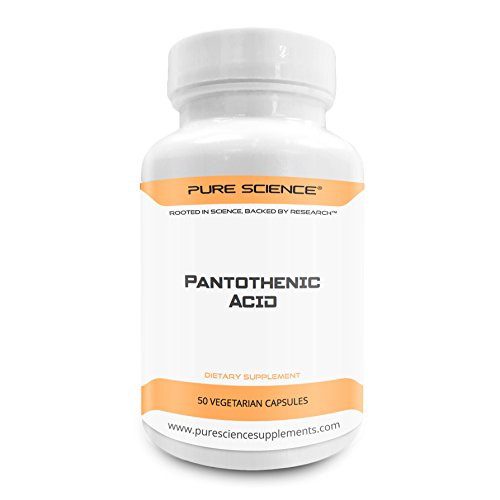 Pure Science Vitamin B5 Pantothenic Acid 500mg – Regulates Cholesterol, Strengthens the Immune System & Reduces Anxiety - 50 Vegetarian Capsules of Pantothenic Acid Powder