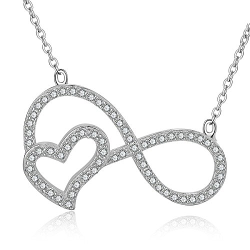 Sterling Silver Overlay (Jewenctiy 14K White Gold Overlay Sterling Silver Necklace with Fashion Heart Shape Pendant for Women 18