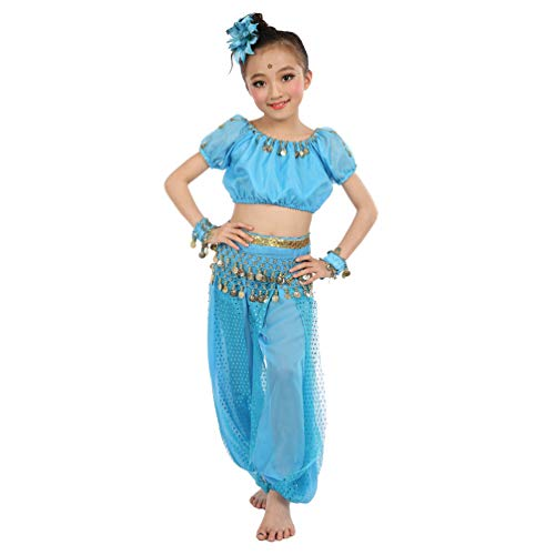 Maylong Girls Coined Harem Pants Belly Dance Outfit Halloween Costume DW56 (Medium, Sky -