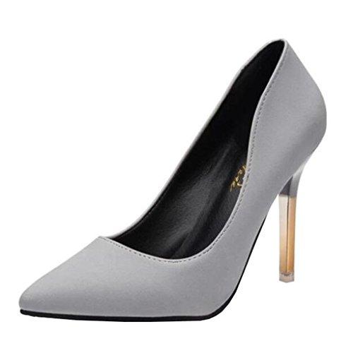 Binying Damen Spitze-Zehe Stiletto ohne Verschluss Pumps Grau