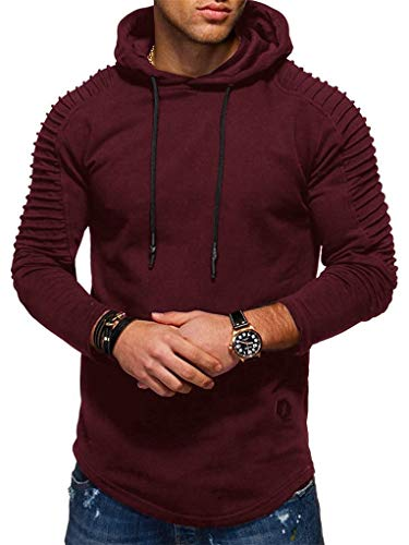 Pullover Ultimate Hooded Cotton (Fenxxxl Mens Slim Fit Outfits Big and Tall Pleated Long Ultimate Cotton Jersey Hooded Sweatshirt Pullover F124 Burgundy L)