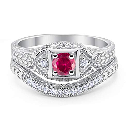 (Blue Apple Co. Art Deco Vintage Style Two Piece Wedding Engagement Bridal Set Ring Band Round Simulated Ruby CZ Cubic Zirconia 925 Sterling Silver Size-8)