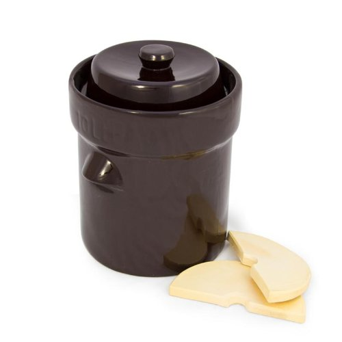 - TSM Products 31061 German Style Fermentation Harvest Pot with Stone Weight, 10-Liter
