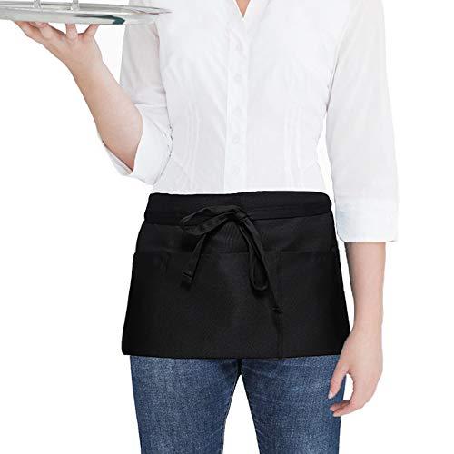 SONGXIN Server Aprons with 3 Pockets - Waist Apron Waiter Waitress Apron Black Half Apron for Women Man Money Apron Kitchen Restaurant Holding Server Book Guest Check Card Holder