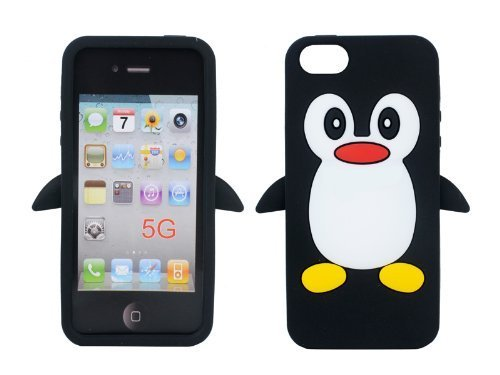 iPhone 5S Silicone case, Anya 3D Cartoon Animal Penguin Soft Silicone Rubber Cool Fun Cute Fashion Hot Case for iPhone 5 5S SE for Guys Men Girls Teens Kids Women Black