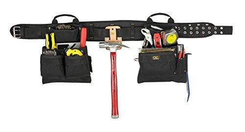 Price comparison product image Custom Leathercraft 5608 Carpenter's Combo Tool Belt with Double-Tongue Steel Roller Buckle, 17-Pocket, 4-Piece by Custom Leathercraft