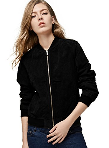Double Collar Leather Bomber Jacket - 9
