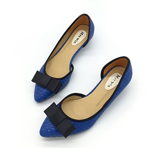 Women Pumps,Fashion Two-Piece Low Spike Heel Pointed Toe Bowtie Slip On (3/4 Inch Sexy Spike Heel)