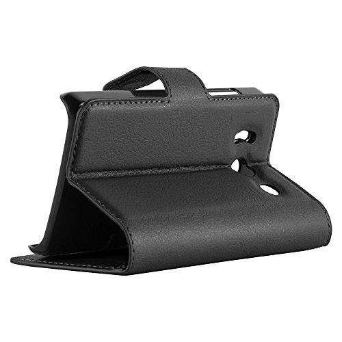 Cadorabo - Funda Huawei ASCEND Y300 Book Style de Cuero Sintético en Diseño Libro - Etui Case Cover Carcasa Caja Protección (con función de suporte y tarjetero) en NEGRO-FANTASMA NEGRO-FANTASMA