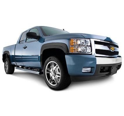[P.U. Tech] 4 Pieces of Premium Fender Flares for 2007-2013 Chevy 1500/2500/3500 - OE Style + Fits Standard and Long Bed Only (Black)