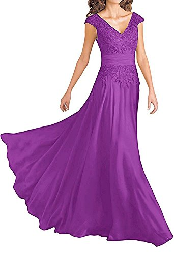 Chiffon Mother of The Bride Groom Formal Wedding Dresses Party Evening Gown Violet US20W]()