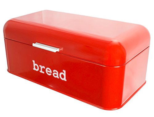 - Bread Box for Kitchen Counter - Stainless Steel Bread Bin Storage Container For Loaves, Pastries, and More - Retro/Vintage Inspired Design, Red, 16.75 x 9 x 6.5 inches