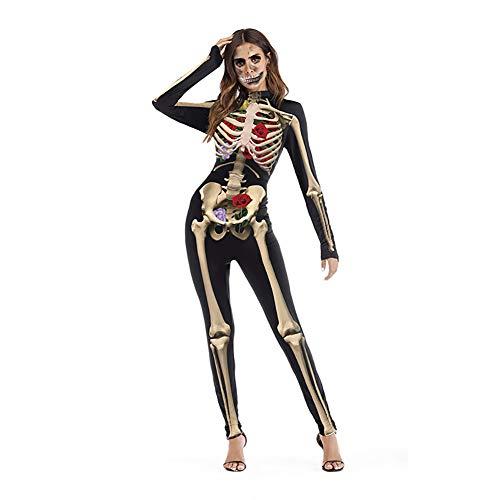 Forart Women's Skeleton Skull Print Cosplay Halloween Costume Jumpsuit Romper