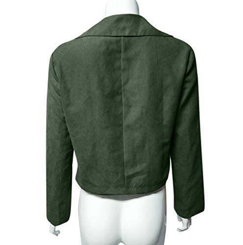 Verde Casuale Tuduz Chiusura Womens Autunnale Bomber Lampo Retrò Outwear Moto Rivetto Breve cPf7q