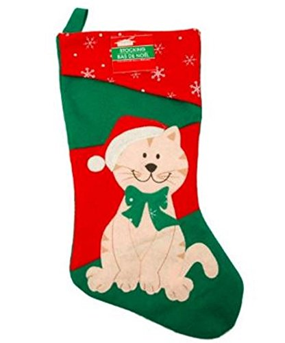 16 1/2 Inch Felt Christmas House Family Pet Christmas Stocking (Cat)
