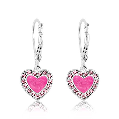 Kids Earrings - 925 Sterling Silver, White Gold Toned Pink Enamel Heart with Surrounding Crystals Leverback Earrings MADE WITH SWAROVSKI ELEMENTS Kids, Children, Girls, Baby ()