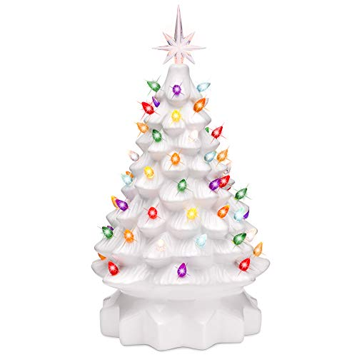 Best Choice Products 15in Pre-Lit Hand-Painted Ceramic Tabletop Christmas Tree w/ 64 Lights - White (W Big Tree Christmas Lights)