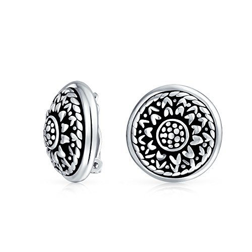 Oxidized Round Clip (Bling Jewelry .925 Silver Round Flower Motif Stud Clip On Earrings)