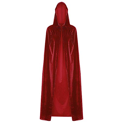 - DEZZAL Unisex Halloween Christmas Cosplay Costume Hooded Cloak Long Velvet Cape (Red)
