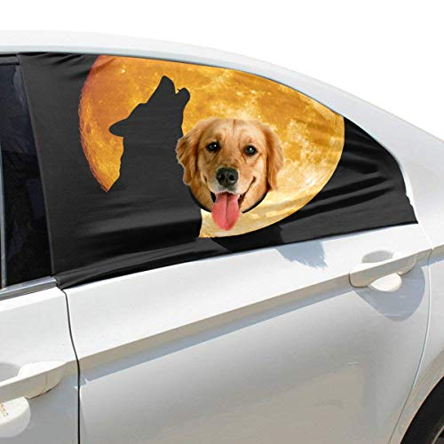 Tagours Creepy Wolf Howling at Midnight Full Moon Foldable Pet Dog Safety Car Printed Window Fence Curtain Barriers Protector for Baby Kid Adjustable Flexible Sun Shade Cover Universal Fit for SUV ()